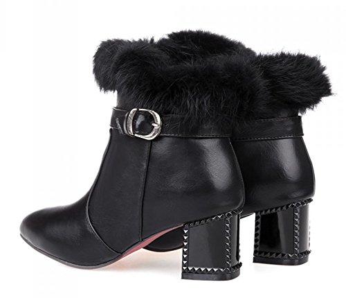 Aisun Dames Comfortabele Mode Spitse Neus Gesp Blok Mid Laars Booties Enkellaars Schoenen Zwart