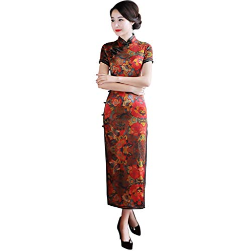 (YAOTIAO Cheongsam Dress Long Section New Summer Heavyweight Silk Embroidered Long Cheongsam Retro Improved Mother Dress Female (Color : Multi-Colored, Size : XXL))