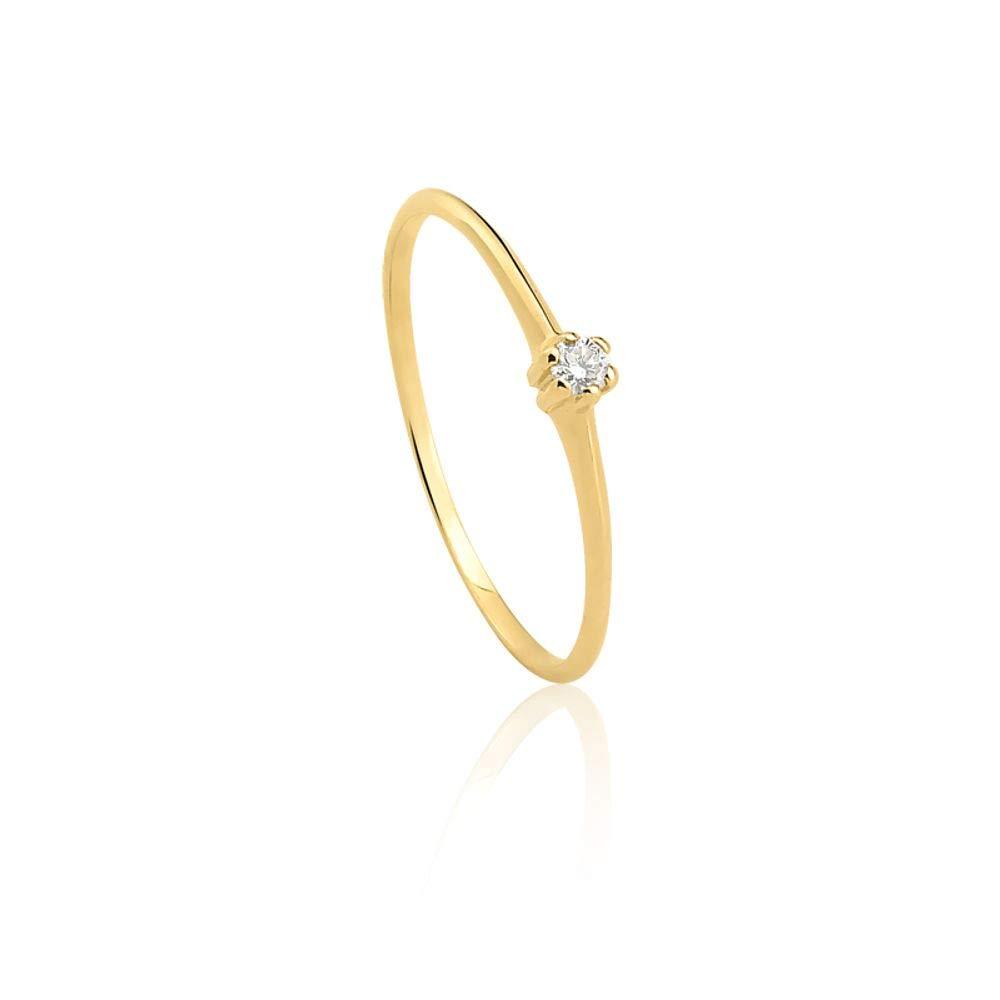 feb9d7e2cb2e3 Anel Solitário em Ouro Amarelo 18K com Diamante Destinee 13  Amazon.com.br   Amazon Moda