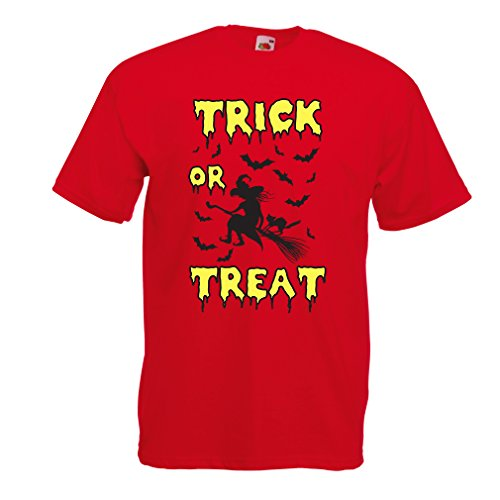 lepni.me T Shirts for Men Trick or Treat - Halloween Witch - Party outfites - Scary Costume (XX-Large Red Multi Color) -