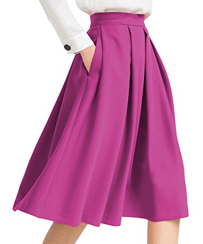 yige Women's High Waisted A Line Skirt Skater Pleated Full Midi Skirt Purple US8
