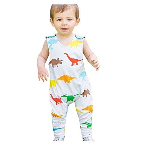 G-real Toddler Baby Boy Cute Dinosaur Leaves Print Romper Jumpsuit Strap Backless Pocket Bodysuit (White, 24 Months)