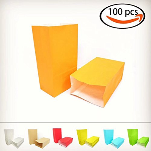 KIYOOMY 100 CT Party Favor Printed Paper Gift Bags Orange Kraft Paper Bags School Snack Bags for Kid's Halloween Party Gift Giving (Halloween Ideas Office Party)