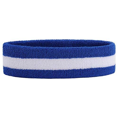 (OnUpgo Sweatband Headband Sports Sweatbands Terry Cloth Athletic Exercise Basketball Headbands Moisture Wicking Sweat Absorbing Head Band (HEADB - Blue/White/Blue))