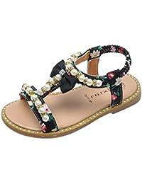 Axinke Summer Casual Open Toe Beaded Rhinestone Flat Roman Sandals for Toddler Girls, Littler Girls
