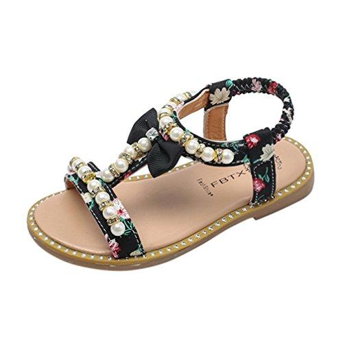 - Axinke Summer Casual Open Toe Beaded Rhinestone Flat Roman Sandals for Toddler Girls, Littler Girls (6.5 M US Toddler, Black)
