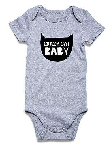 Funnycokid Infant Romper Jumpsuit Short Sleeve Bodysuits Cotton Crazy Cat Baby Onsie Grey 0-3 - Crazy Cat