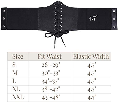 Women\'s Lace-up Corset Elastic Wide Belt, Tied Waspie Waist Belt for Women by WHIPPY, Black, Fit Waist 26-29 Inches