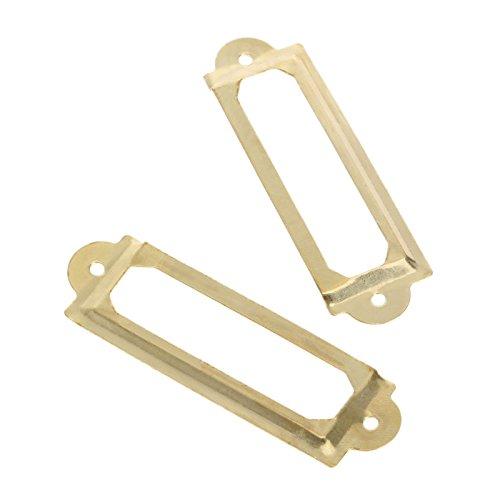 (dophee 12Pcs Vintage Brass Label Pull Drawer Cabinet Frame Handle File Name Card Holder - Gold)