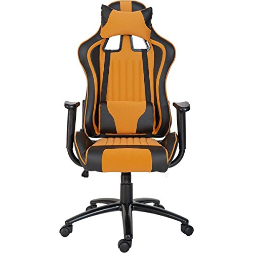 ModernLuxe Odyssey Series Executive Gaming Chair with Adjustable Lumbar Support and Headrest in Soft PU Leather and Mesh Fabric (Orange) by ModernLuxe