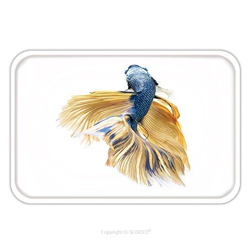 Flannel Microfiber Non-slip Rubber Backing Soft Absorbent Doormat Mat Rug Carpet Betta Fish Siamese Fighting Fish Betta Splendens Halfmoon Betta Isolated On White Background 478265383 for Indoor/Outdo