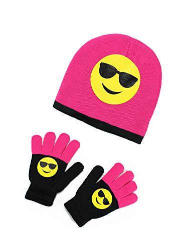 S.W.A.K Girls Winter Smiley Knitted Beanie Hat and Gloves Set Fuchsia - Sunglasses - One - Thermal Sunglasses