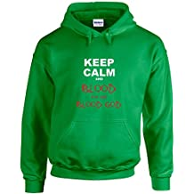 Keep Calm and Blood For The Blood God, Printed Hoodie - Irish Green/White/Transfer L