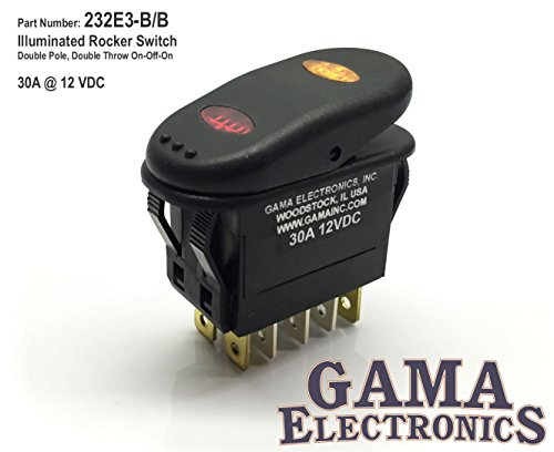 GAMA Electronics Waterproof Illuminated Double Pole, Double Throw 3 Position On-Off-On Rocker Switch DPDT ()