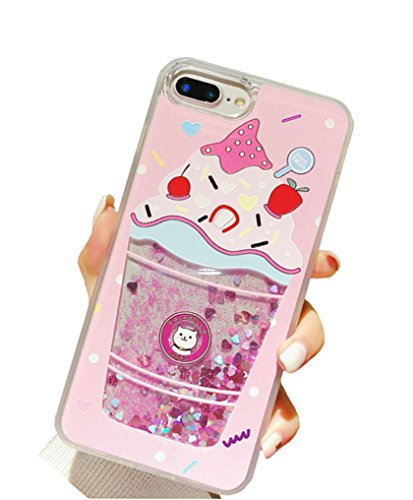 UnnFiko Liquid Ice Cream Case iPhone 7 Plus/iPhone 8 Plus, 3D Cute Quicksand Stars Flowing Floating Bling Glitter Sparkle Soft Bumper Case for Girls Women (Pink Ice Cream, iPhone 7 Plus / 8 Plus)