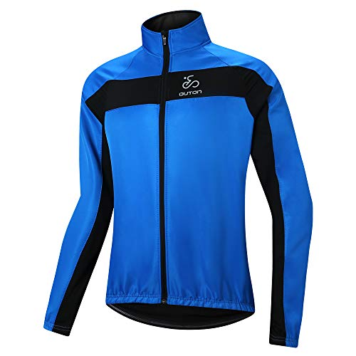 OUTON Men's Cycling Jacket Vest Windproof Water-Resistant Coat Breathable Outdoor Sportswear (Blue, XX-Large)