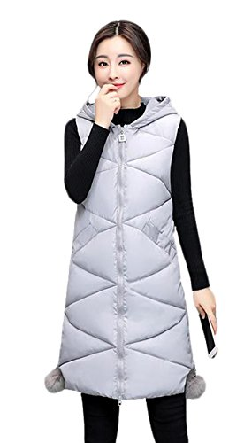 SHUNYI 秋 冬 レディース ダウンコート ベスト ロング丈 着痩せ 修身 チョッキ ダウン ベスト ノースリーブ 中綿ベスト シンプル ファッション