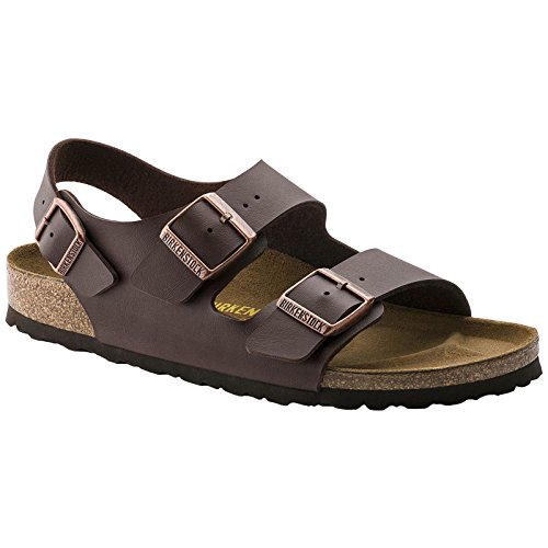 Birkenstock Womens Milano Dark Brown Birko-Flor Sandals 38 EU ()