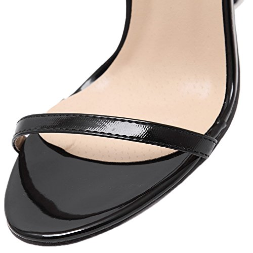 HooH Mujer Sandalias Stiletto Peep Toe Sexy Correa de tobillo Zapatos de tacón Negro
