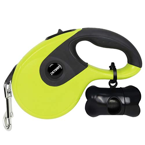 (PETDOM Retractable Dog Leash - Heavy Duty Pet Leash for Medium Large Dogs Up to 110 lbs - 16 ft Nylon Reflective Tape, Tangle Free, One-Handed Brake, Pause, Lock - Large (Green))