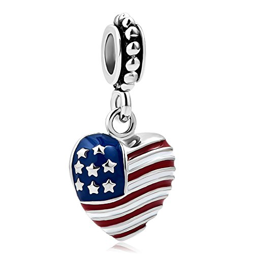 QueenCharms American Flag Army Mom Charm Dangle Heart Beads For Bracelet (Pandora Charms Mom Army)