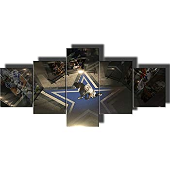 5 Piece Canvas Wall Art Dallas Cowboys Canvas Prints Painting Wall Art NFL Sport Home Decor Framed Pictures Modern Artwork Home Decor for Living Room Giclee Stretched Ready to Hang(50''Wx24''H)