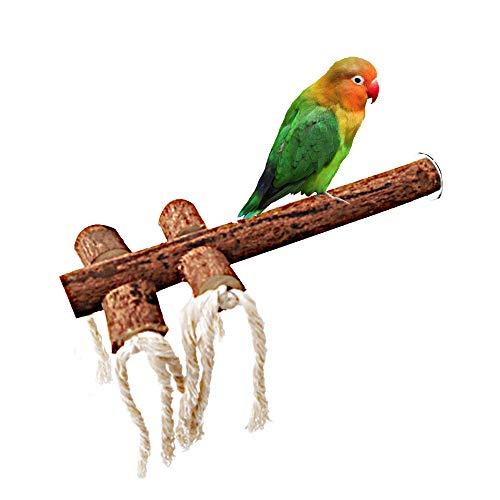 (Hamiledyi Bird Perch Bird Stand Bird Cage Accessories Natural Wood Perch with Strings Chew Funny Toys for Parrots)