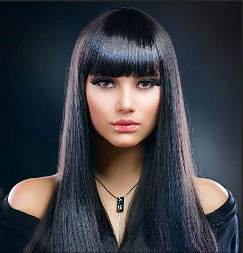 AYSAN HAIR Long Natural Wig Straight Hair Wigs for Women Full Wig with Neat Bangs with Wig Cap (Black)