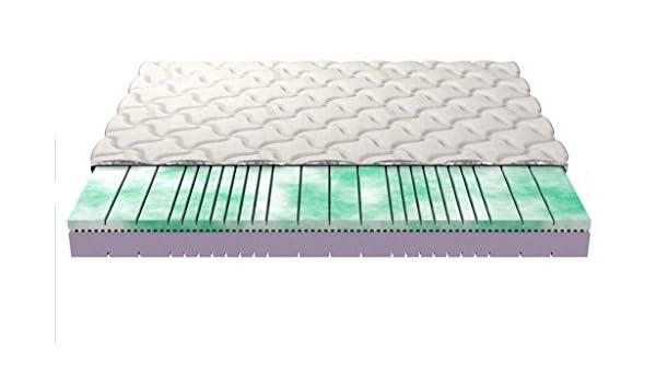 federkern Colchón de Espuma con Efecto Memoria 3D Alta Espuma HR Espuma de Poliuretano Agua - 22 cm, Espuma, 3-Layer Quilted Silver Cover, ...