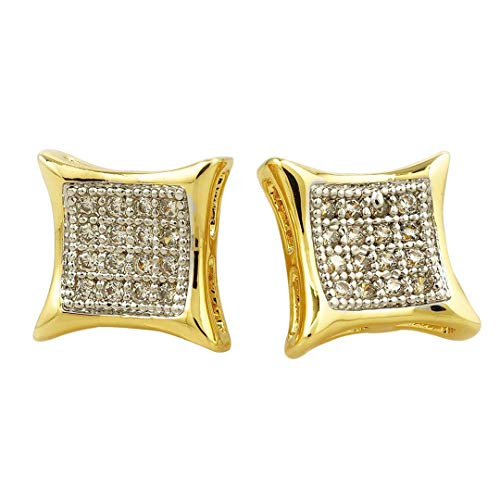 Niv's Bling -18K Gold Plated/Black Rhodium Plated/Rhodium Plated/Gold Plated Canary Cubic Zirconia Earrings - Iced Kite Square Stud Micropave CZ Earring Pair, For Men or Women