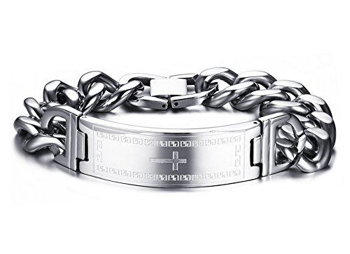 Chunky Link Bracelet (Mens Stainless Steel Cross Link Bracelet,Chunky Jewelry for Christian Lord Prayer,Silver,8.3