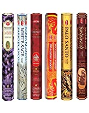 Hem Incense Sticks | 6 Boxes X 20 Sticks Each |Lavender,White Sage, Frankincense,Dragon Blood, Palo Santo & Sandalwood| - Total 120 Sticks