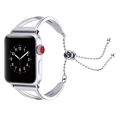 (AutumnFall Strap for Apple Watch Band 42mm Stainless Steel Bracelet with Tassel Ornament Closure for iWatch Series 1/2/ 3 (Silver))