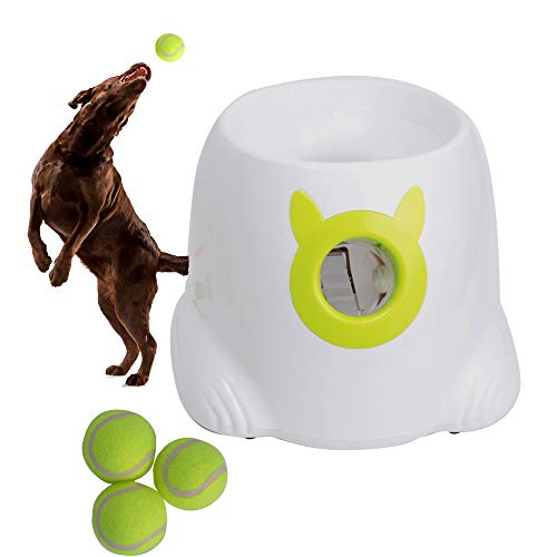 LUCKYERMORE Automatic Dog Ball Launcher Thrower Interactive Throwing and Fetch Dog Toy Mini Tennis Balls for Dog Indoor Outdoor Playing