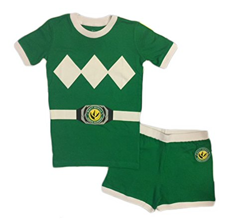 Power Ranger Little Boys' Mighty Morphin Pajama Short Set, Green, 6 (Short Rangers Power)