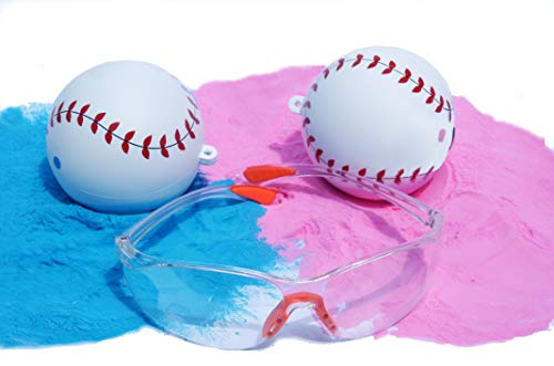 Gender Reveal Baseball Party Supplies NCG Designs Pair of Bright Blue and Pink Powder Filled Balls Team boy or Girl for an Explosive Sex Reveal Baby Shower Bonus Gift: Safety Goggles - All Star Football Invitations