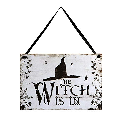 LUOEM Halloween Hanging Welcome Sign Trick or Treat Wooden Plaque Board for Haunted House - Witch is in -