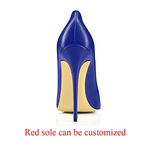 Faux Party Wedding Blue Evening Hedels Women's Dress Sexy Modemoven Stilettos Shoes Pumps High Leather Pointed Toe 5CpU4xfqwv