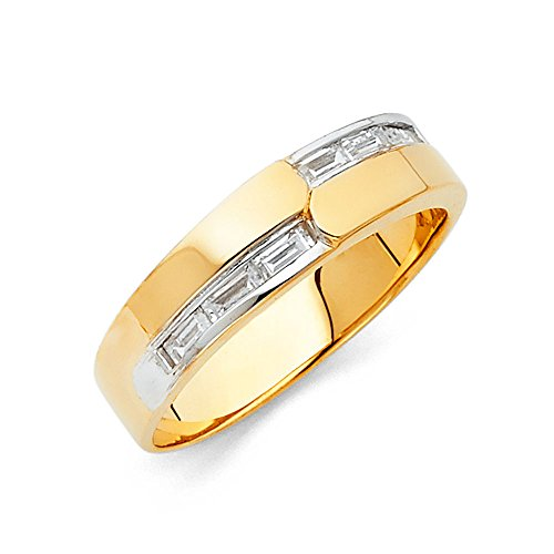 FB Jewels 14K Yellow Gold Ring Baguette Cubic Zirconia CZ Mens Anniversary Wedding Band Size 8