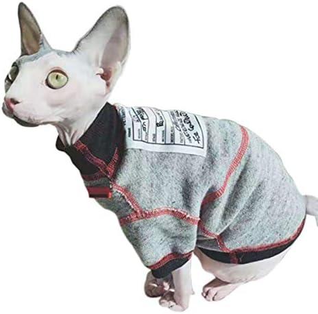Bonaweite Hairless Cats Sweatshirt Turtleneck Vest, Breathable Adorable Cat Wear Shirt Clothes, Cat's Pajamas Jumpsuit for Sphynx, Cornish Rex, Devon Rex, Peterbald 19