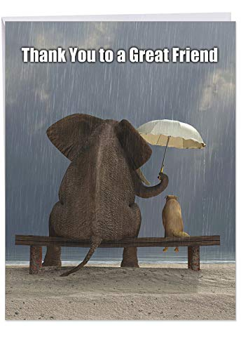 Cute 8.5 x 11 Inch Greeting Card with Envelope - 'Thank You to a Great Friend' Elephant and Dog Friends in the Rain with Umbrella - Show Appreciation with Personalized Thanks Message J9106