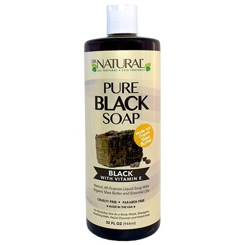 Dr. Natural Pure Black Soap With Vitamin E and Shea Butter, 32 Ounce