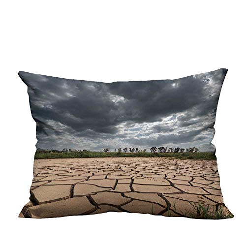 YouXianHome Home DecorCushion Covers Stormy Clouds Dark are Gathering on Dry and Cracked Land Comfortable and Breathable(Double-Sided Printing) 11x19.5 ()