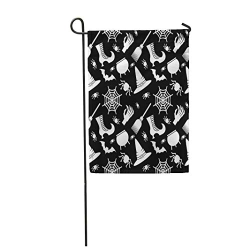Semtomn Garden Flag Abstract Halloween Flat Cartoon Cauldron Cobweb Color Dark Geometric 28