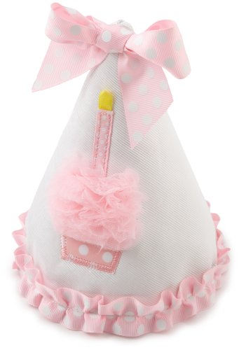 Mud Pie Baby Birthday Pink and White Hat, Cupcake]()