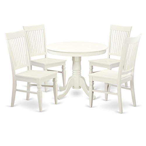 - East West Furniture ANWE5-LWH-W 5 PC Set with One Table & 4 Solid Wood Seat Dinette Chairs in a Distinctive Linen White