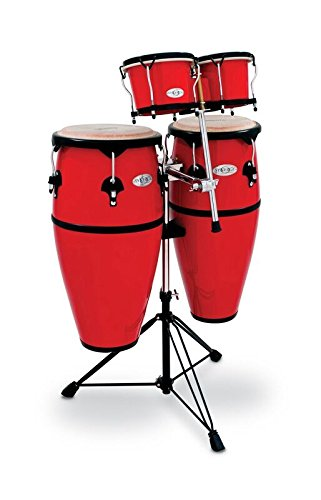 Toca 2300FRD-K Synergy Series Fiberglass Conga Set with Stand, Bongos & Bongo Mounting Bracket - Red by Toca