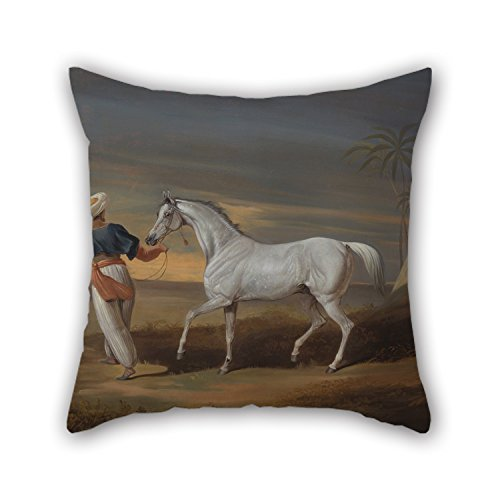 MaSoyy Oil Painting David Dalby Of York - Signal, A Grey Arab, With A Groom In The Desert Pillow Covers Best For Kids Boys Bedding Adults Shop Boys Deck Chair 18 X 18 Inches / 45 By 45 Cm(two Sides