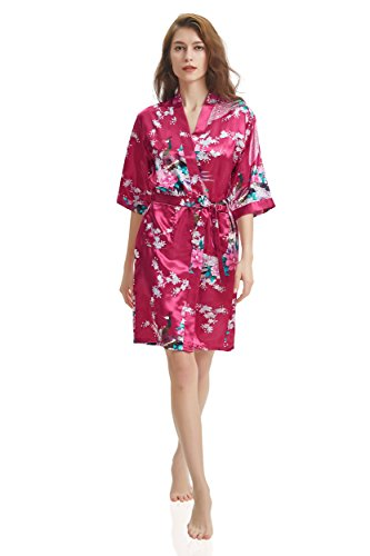 J.ROBE Women s Printing Lotus Kimono Robe Short Sleeve Silk Bridal Robe  Burgundy M 32f51ecbf