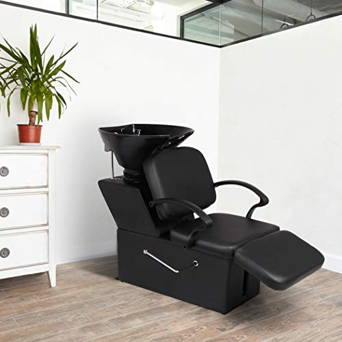 Shampoo Backwash Barber Chair with Footrest Adjustable ABS Plastic Shampoo Bowl Salon Bed Double Drain